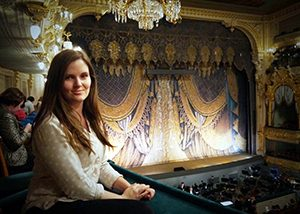 Laura enjoying a performance at the Mariinsky Theatre, St Petersburg, Russia