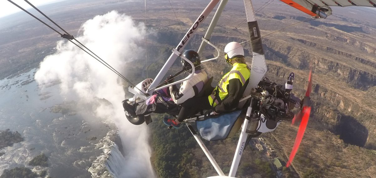 Anna microlighting over Victoria Falls