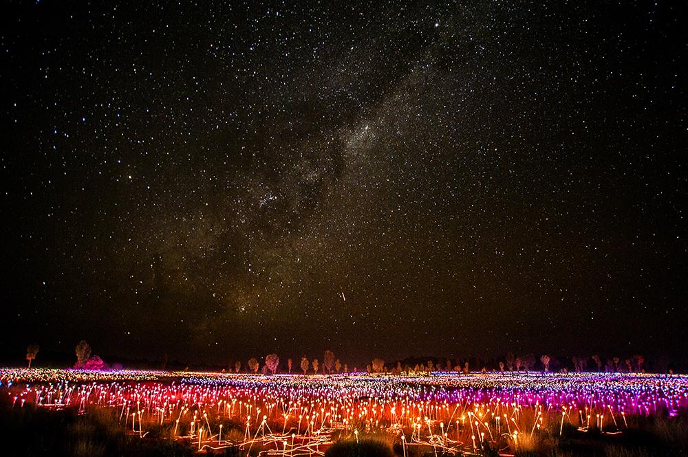 Field of Lights and Milky Way, Uluru, Australia by Mark